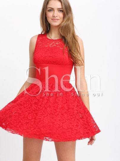 Red Sleeveless Lace Flare Dress
