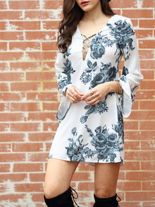 Multicolour Long Sleeve V Neck Floral Dress