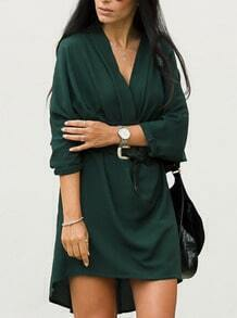 Dark Green Long Sleeve V Neck High Low Dress
