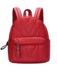 Red Zipper PU Backpacks