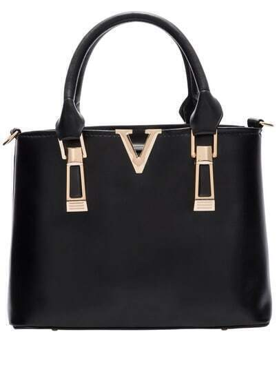 Black Zipper Metallic Embellished PU Tote Bags