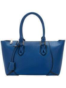 Royal Blue Zipper PU Tote Bags