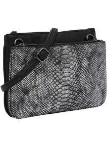 Serpentine Zipper PU Shoulder Bag