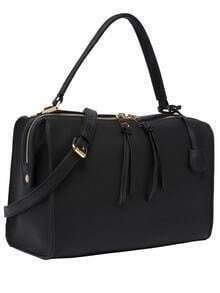 Black Tassel Zipper Shoulder Bag