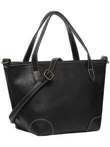 Black Zipper Oversized PU Shoulder Bag