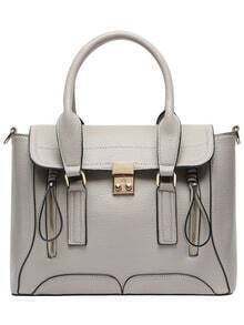Gray Push Lock Zipper PU Shoulder Bag