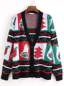 Single-breasted Christmas Tree Cardigan Sweaters