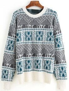 Grey Green Snowflake Pullover Sweaters