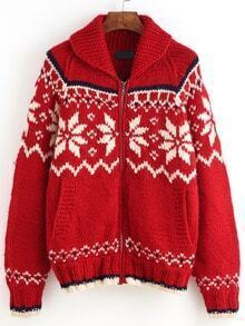 Red Zipper Snowflake Cardigan Sweaters