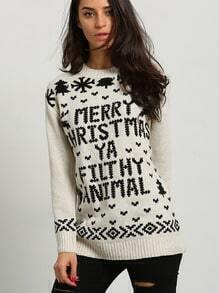 Beige Letters Snowflake Print Sweaters