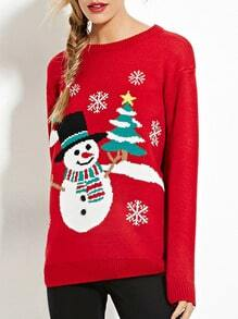 Red Long Sleeve Snowman Pullover Sweaters