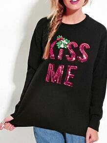 Black Letters Sequined Pullover Sweaters