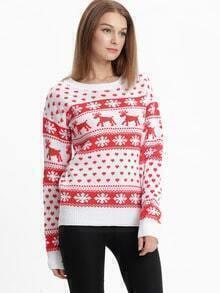 Snowflake Deer Pullover Sweaters