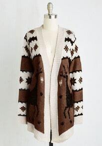 Brown Snowflake Deer Print Cardigan Sweaters