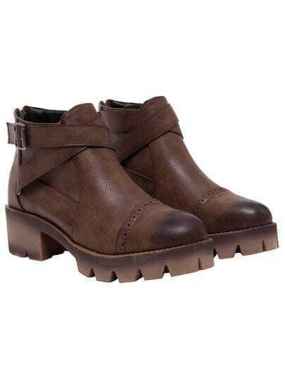 Camel Zipper Buckle Strap Pierced Boots