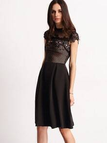 Black Lace Insert Crochet Hollow Flare Dress
