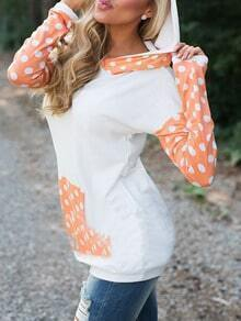 White Hooded Polka Dot Pocket Sweatshirt