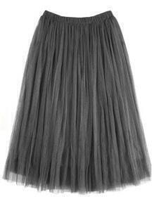 Grey Elastic Waist Pleated Skirt