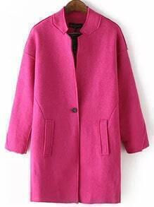 Stand Collar Single Button Long Rose Red Coat