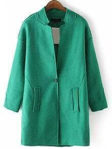 Stand Collar Single Button Long Green Coat