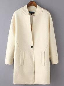 Stand Collar Single Button Long Beige Coat