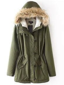 Hooded Zipper Pockets Slit Back Army Green Coat