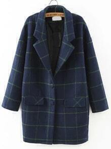 Lapel Plaid Pockets Buttons Long Coat