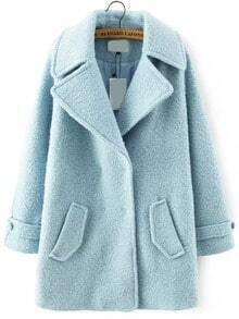 Lapel Pockets Woolen Pale Blue Coat