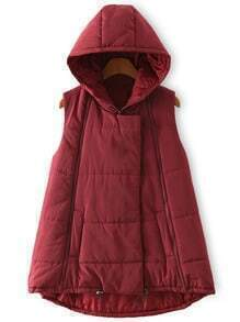 Hooded Zipper Dip Hem Burgundy Vest