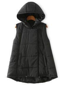 Hooded Zipper Dip Hem Black Vest