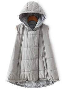 Hooded Zipper Dip Hem Grey Vest