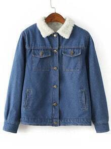 Women Lapel Pockets Buttons Denim Coat