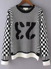 Women Number Print Plaid Sweater