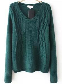 V Neck Cable Knit Dark Green Sweater