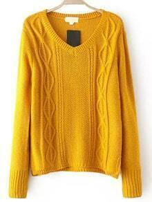V Neck Cable Knit Yellow Sweater