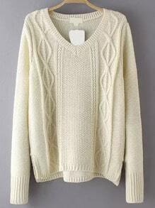 V Neck Cable Knit Beige Sweater