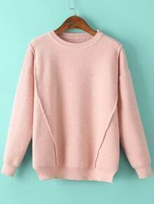 Women Slit Loose Pink Sweater
