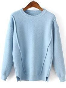 Women Slit Loose Sky Blue Sweater