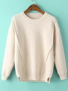 Women Slit Loose Beige Sweater