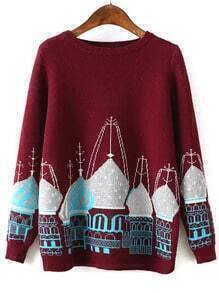Building Print Dark Red Sweater