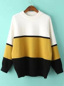 Round Neck Color-block Loose Sweater