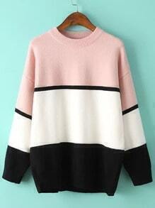 Round Neck Pink White Loose Sweater