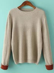 Women Contrast Cuff Apricot Sweater
