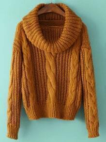 Turtleneck Cable Knit Yellow Sweater