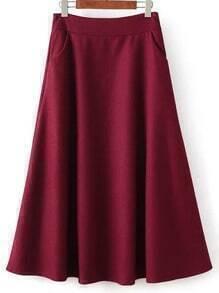 Women Zipper A-Line Burgundy Skirt