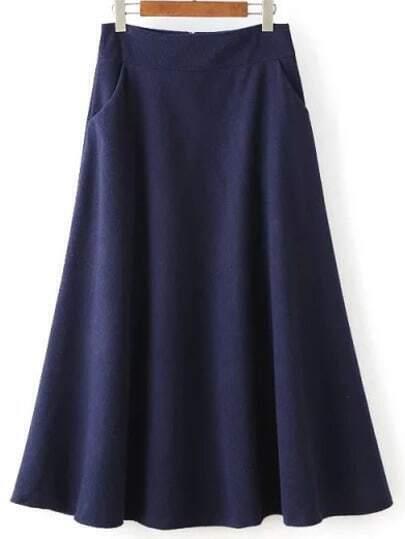 zipper a line navy skirt shein sheinside