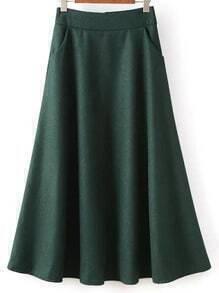 Women Zipper A-Line Dark Green Skirt
