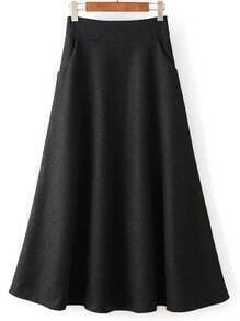Women Zipper A-Line Black Skirt