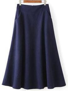 Women Zipper A-Line Navy Skirt