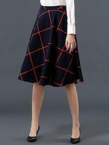 Navy High Waist Plaid Skirt